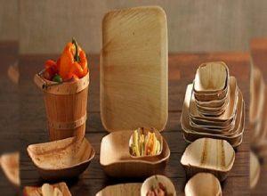 Areca leaf plates, trays and bowls