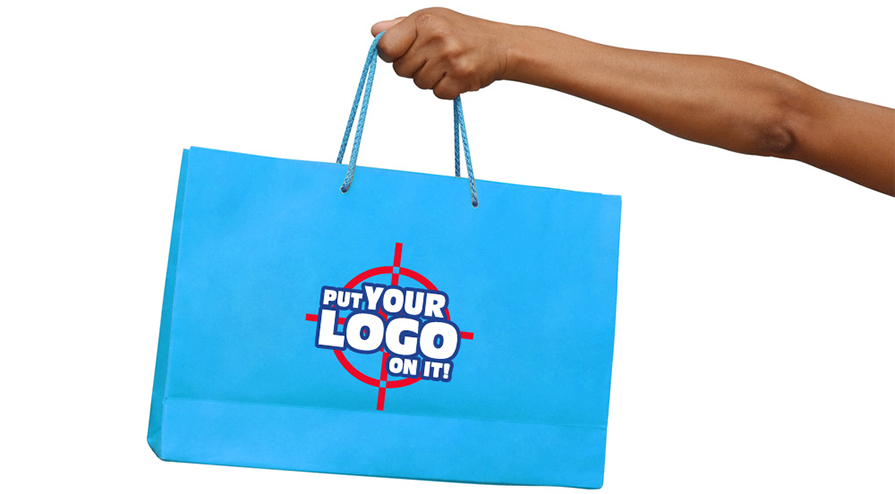 blue shopping bag with print your logo on it sticker on it logo